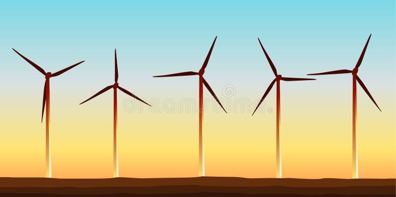 Windkraftturbinenfeld mit goldenem Horizont stock abbildung