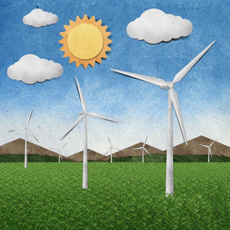 WindKraftwerkaufbereitete Papierfertigkeit vektor abbildung