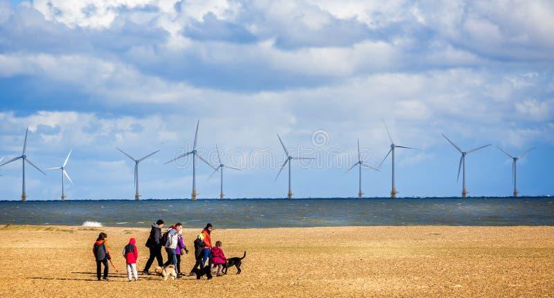 Windlandbouwbedrijf van de kust van Yarmouth met familie het lopen honden op strand in Great Yarmouth, Norfolk, het UK royalty-vrije stock foto's