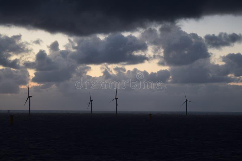 Windlandbouwbedrijf van Noordzee 2019 stock afbeeldingen