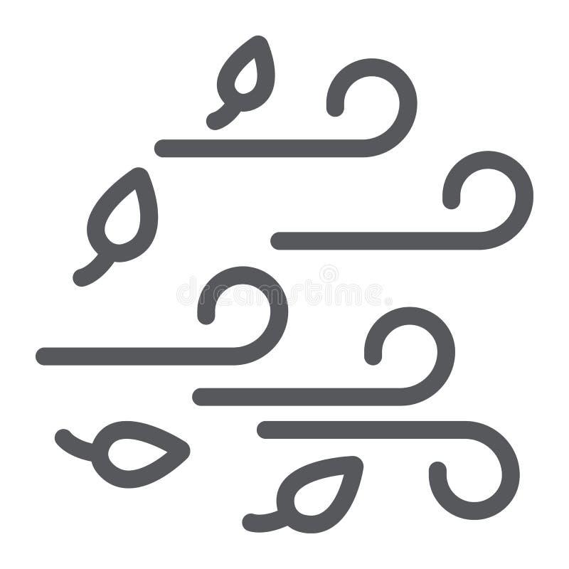 Windlinie Ikone, Wetter und Klima, windiges Zeichen, Vektorgrafik, ein lineares Muster auf einem weißen Hintergrund lizenzfreie abbildung