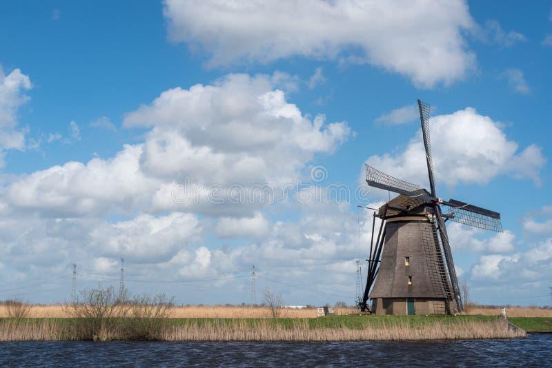 Windmühle in Kinderdijk nahe Rotterdam die Niederlande lizenzfreie stockfotos