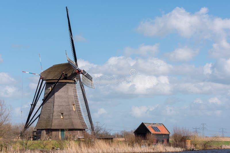 Windmühle in Kinderdijk nahe Rotterdam die Niederlande stockfotos