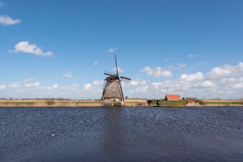 Windmühle in Kinderdijk nahe Rotterdam die Niederlande lizenzfreie stockbilder