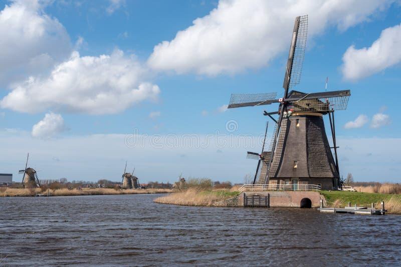 Windmühlen in Kinderdijk nahe Rotterdam die Niederlande stockfoto
