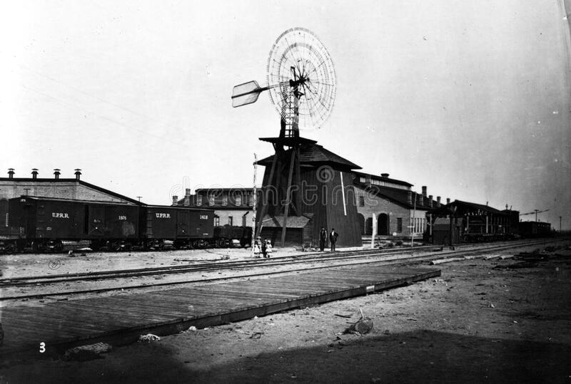 Windmühle 1869 an Nord-Platte-Station stockfotos