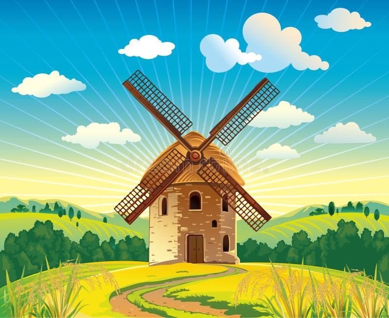 Windmühle stock abbildung