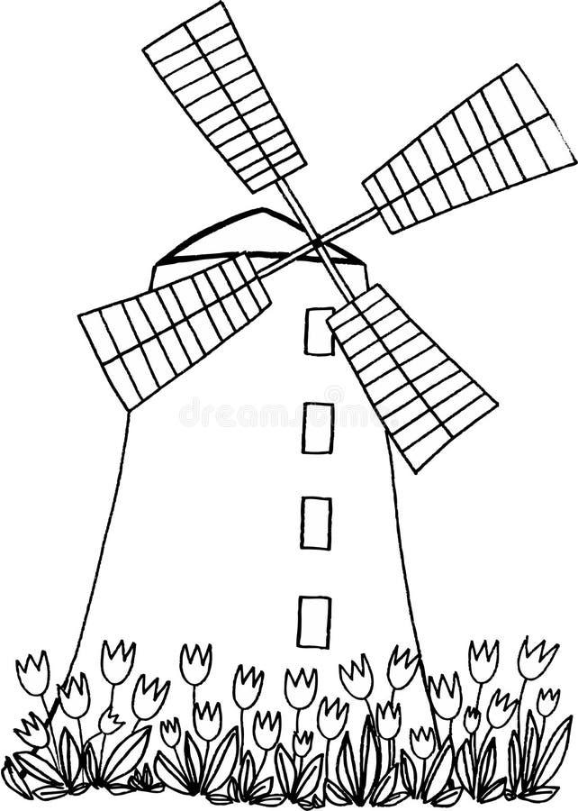 Windmühle lizenzfreie abbildung
