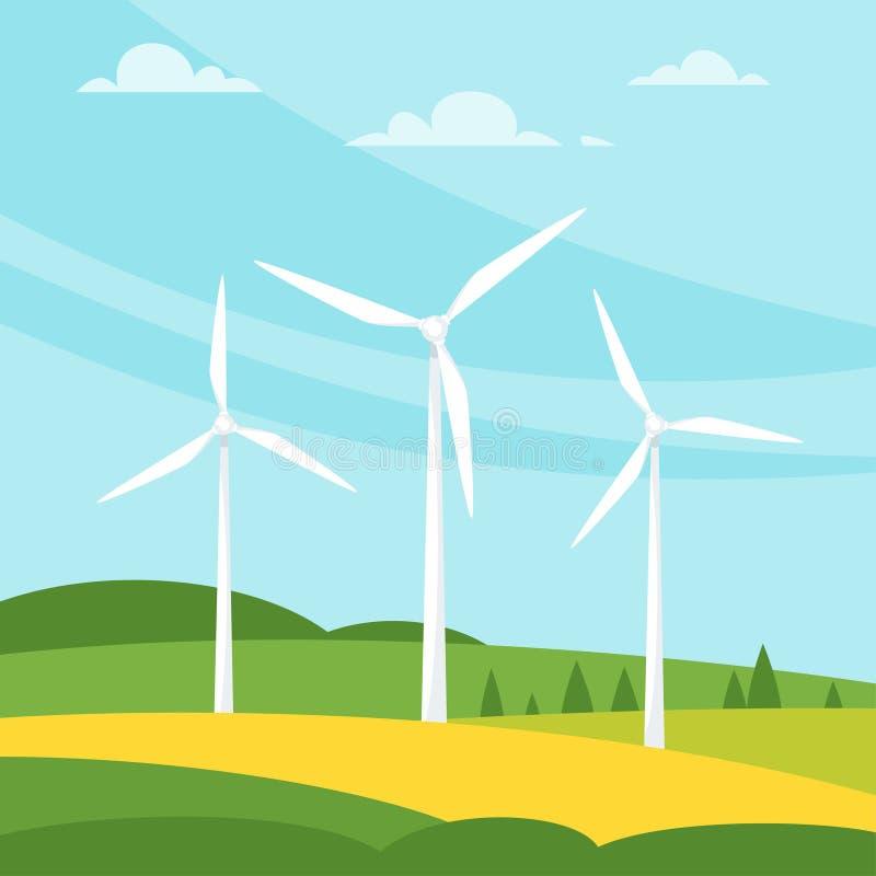Windmühle auf der Wiese stock abbildung