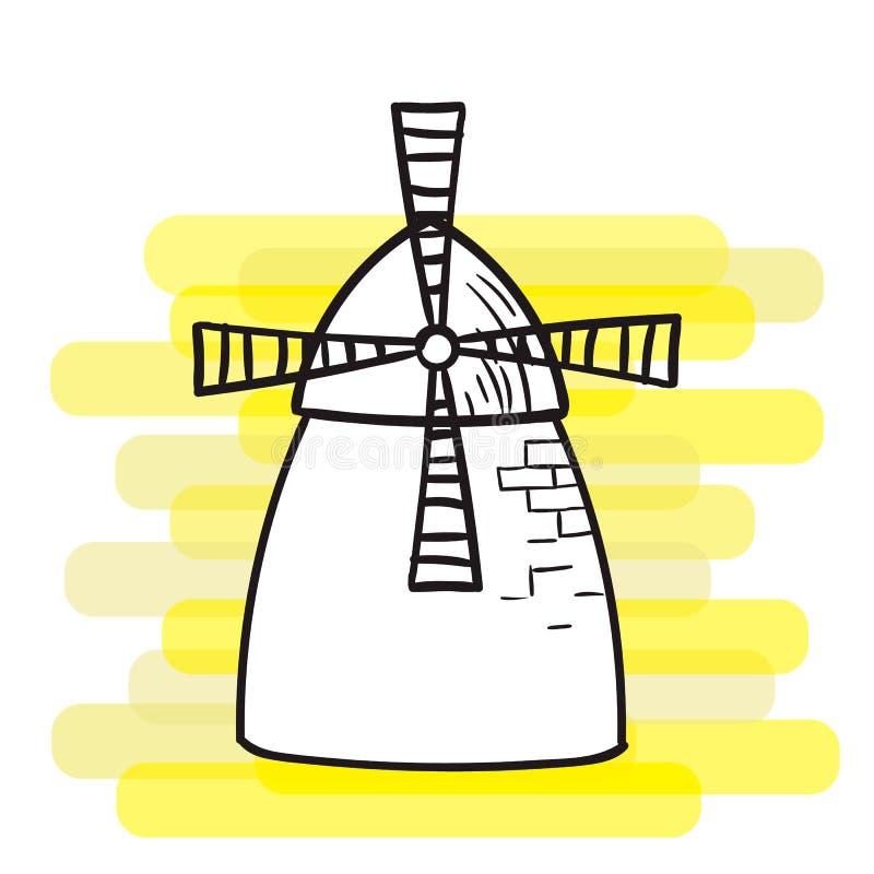 Windmühle auf einem hellen Hintergrund, ein schwarzer Entwurf, das Thema der Landwirtschaft stockfotografie