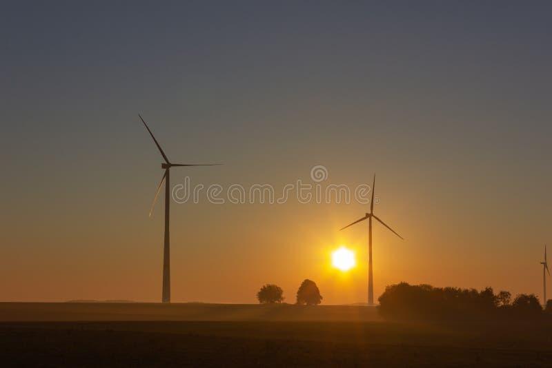 Windmühle auf Horizont bei Sommersonnenaufgang oder -sonnenuntergang lizenzfreies stockfoto
