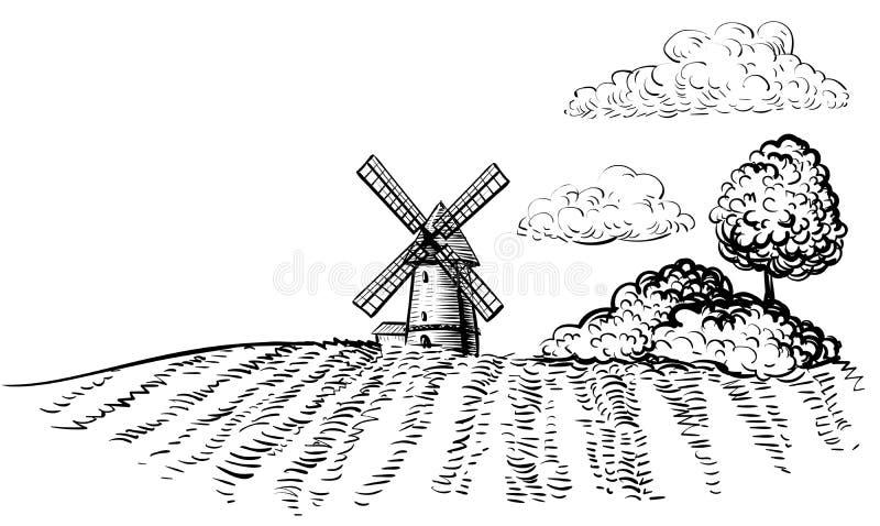 Windmühle auf landwirtschaftlicher Feldhandgezeichneter Skizzenartillustration stock abbildung