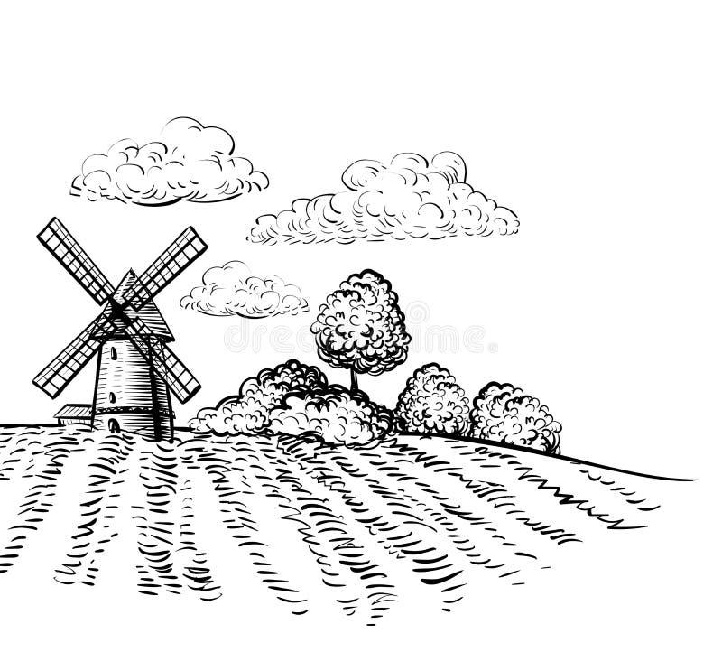 Windmühle auf landwirtschaftlicher Feldhandgezeichneter Skizzenartillustration lizenzfreie abbildung
