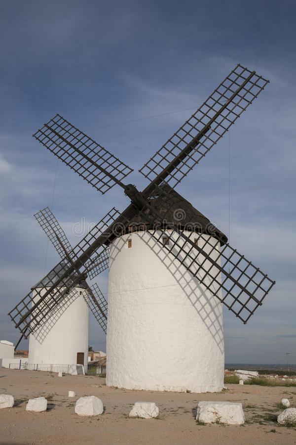 Windmühle, Campo de Criptana stockfoto