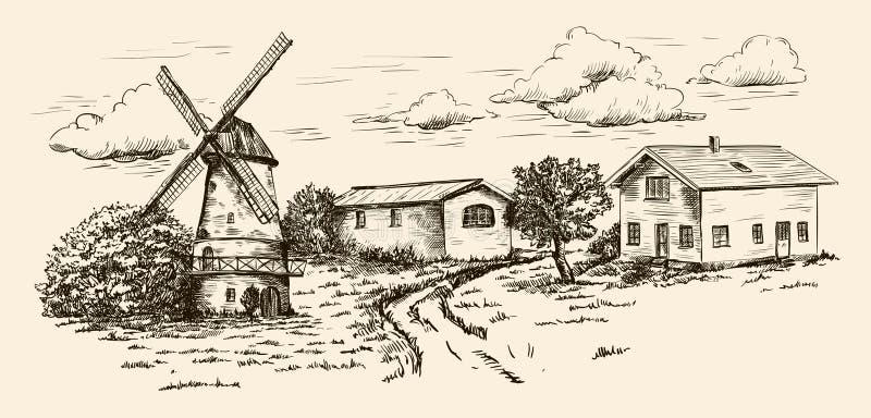 Windmühle, Dorfhäuser und Ackerland stock abbildung