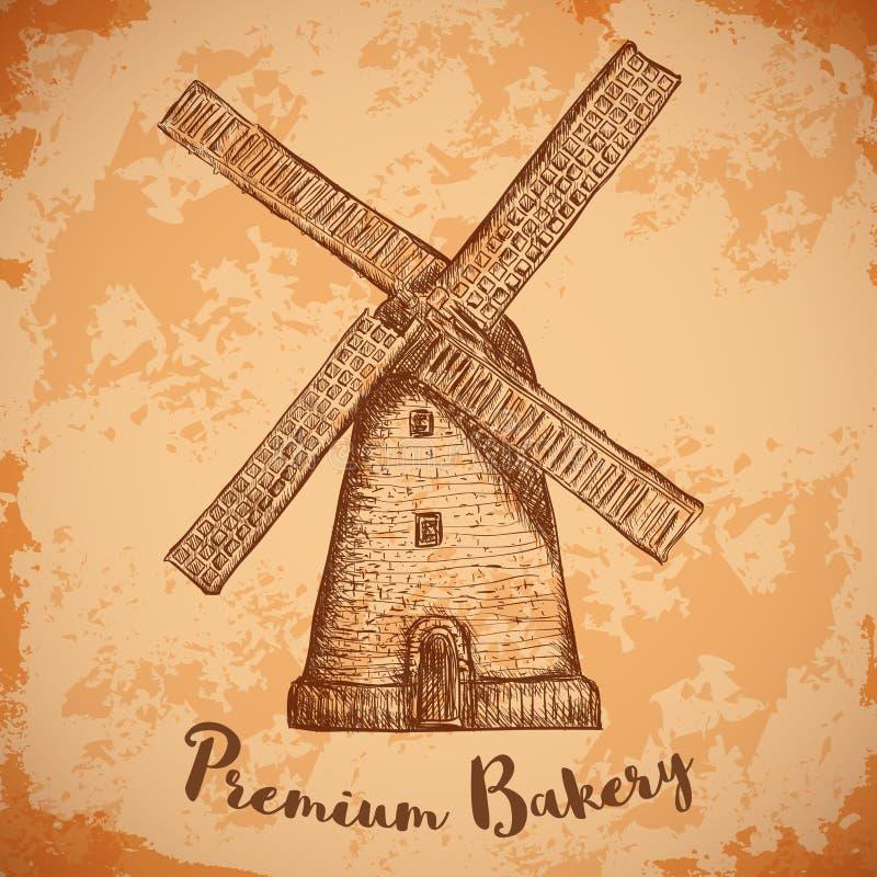 Windmühle Erstklassige Bäckerei Weinleseplakat, Aufkleber, Satz für Brot Retro- Hand gezeichneter Vektorillustrations-Windmühlenb stock abbildung