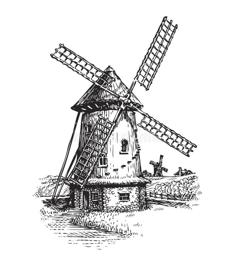 Windmühle Hand gezeichnete Weinleseskizzen-Vektorillustration vektor abbildung