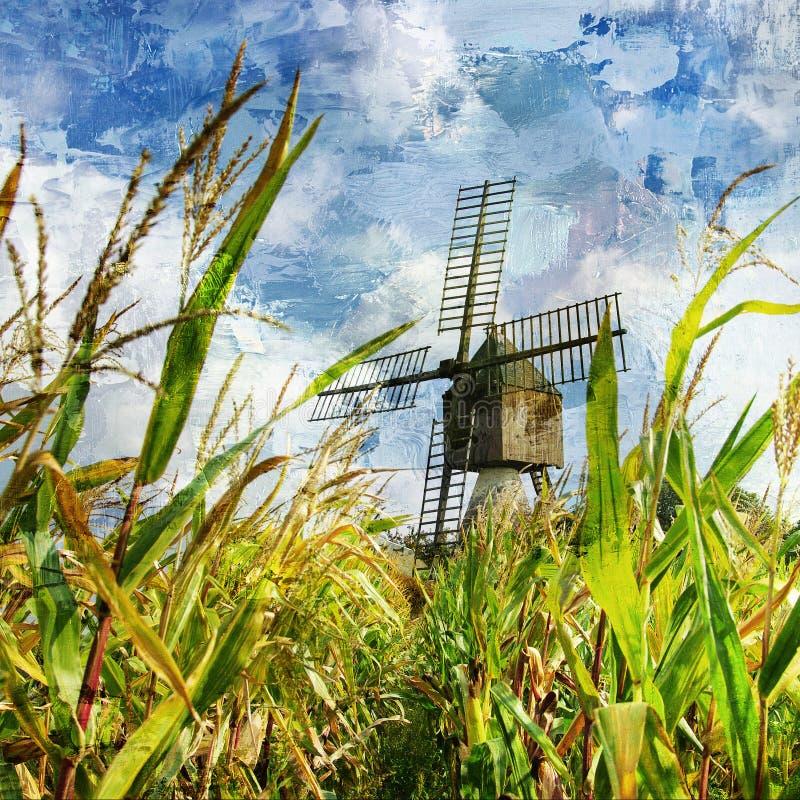 Windmühle im Mais vektor abbildung