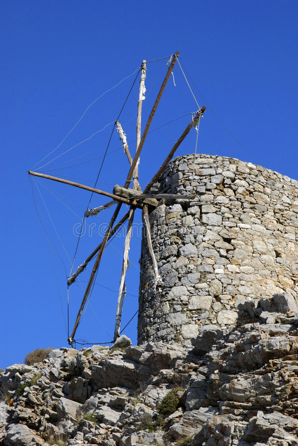 Windmühle in Kreta stockbilder