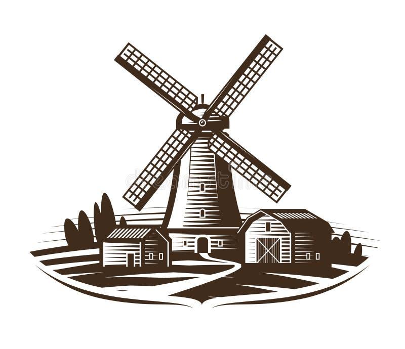 Windmühle, Mühllogo oder Aufkleber Bewirtschaften Sie, ländliche Landschaft, Landwirtschaft, Bäckerei, Brotikone Weinlesevektoril lizenzfreie abbildung