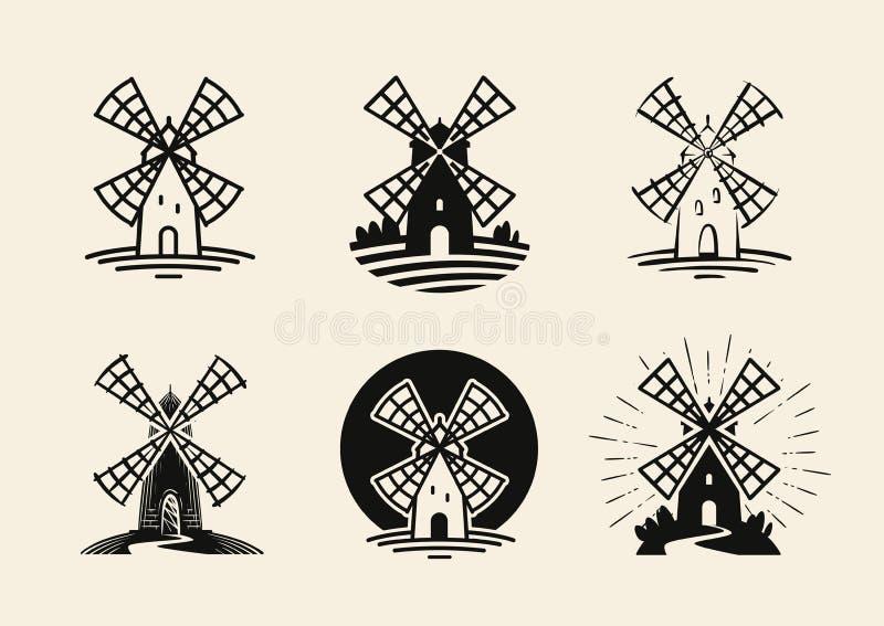 Windmühle, Mühllogo oder Aufkleber Mehl, Bäckereiikonen eingestellt Auch im corel abgehobenen Betrag stock abbildung