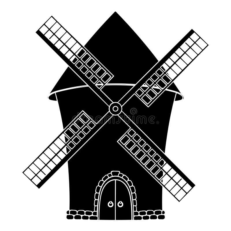 Windmühle Schwarzes Symbol vektor abbildung
