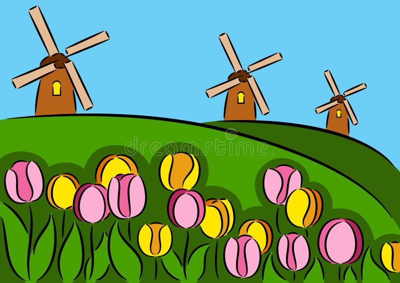 Windmühle und Tulpen stock abbildung