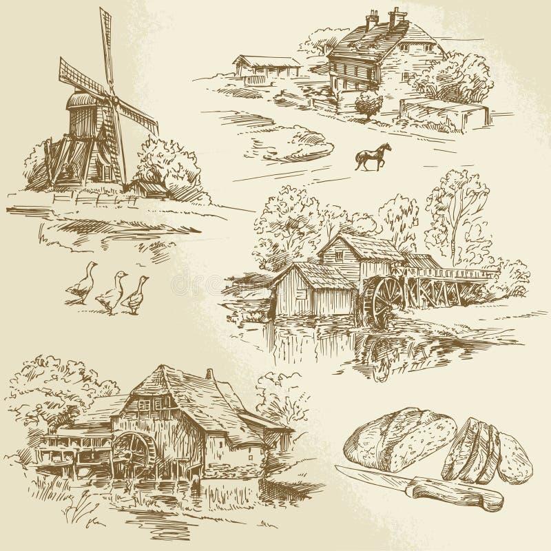 Windmühle und watermill lizenzfreie abbildung