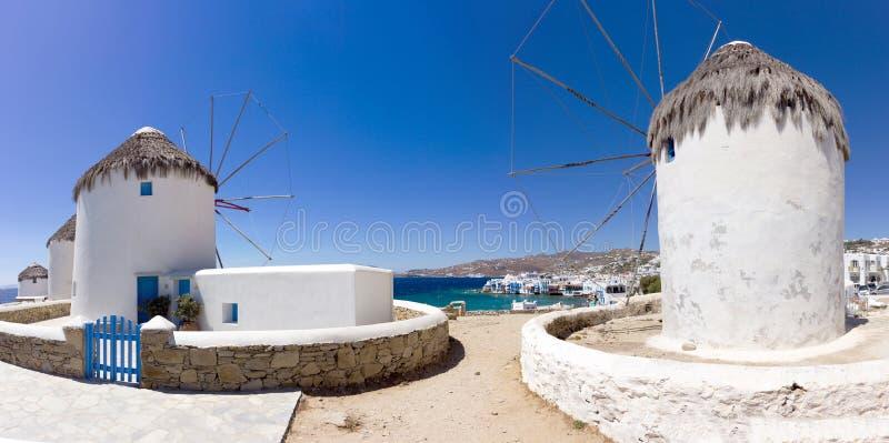 Windmühle von Mykonos, Griechenland stockbild