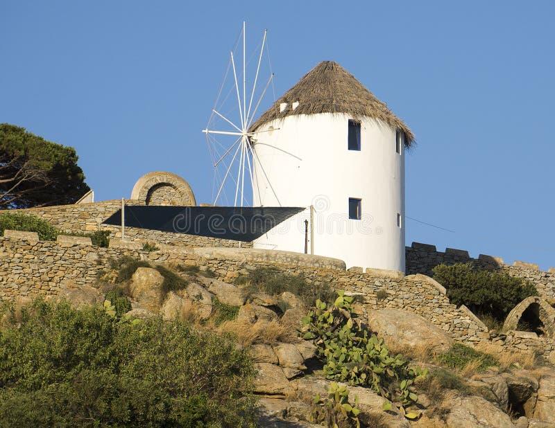Windmühle von Mykonos, Griechenland stockbilder