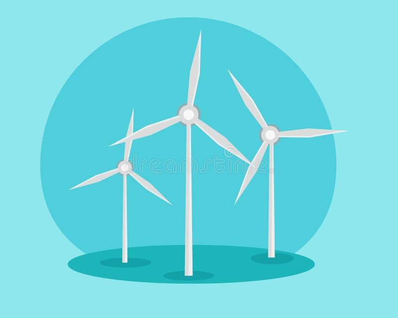 Windmühlen, Ökologiekonzept Alternative Energiequellen Grüne Energie Abbildung lizenzfreie abbildung