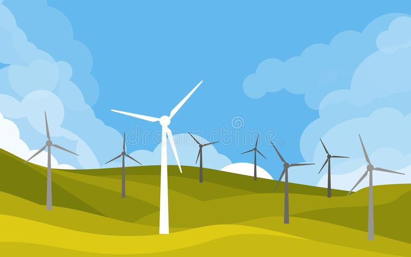 Windmühlen auf den grünen Gebieten lizenzfreie abbildung