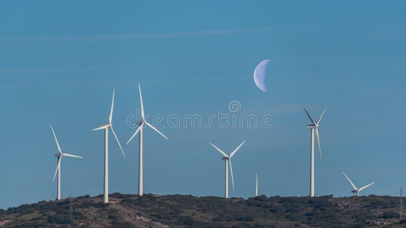 Windmühlen auf einem Hügel mit Himmel und dem Mond im Hintergrund stockfotos