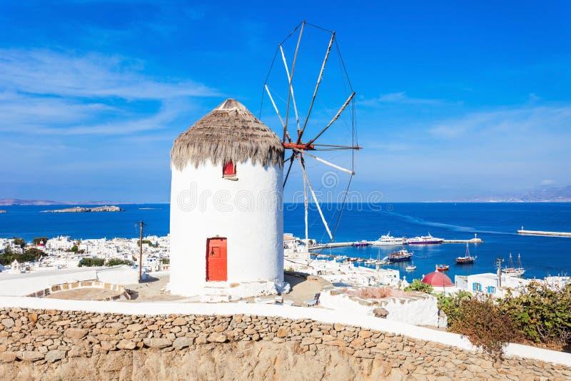 Windmühlen auf Mykonos, Griechenland stockbild