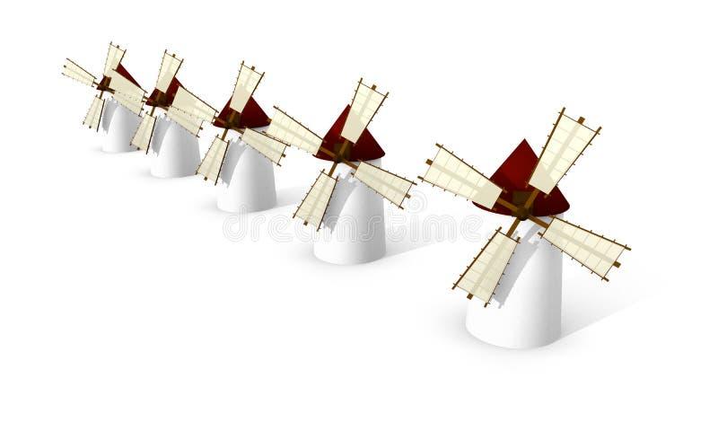 Download Windmühlen Auf Weißem Hintergrund Stock Abbildung - Illustration von rustic, erbe: 26354785