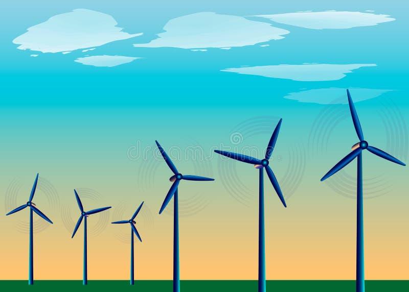 Windmühlen, die auf dem Gebiet vor dem hintergrund des blauen Himmels, Energiewind, alternative Energiequelle stehen vektor abbildung