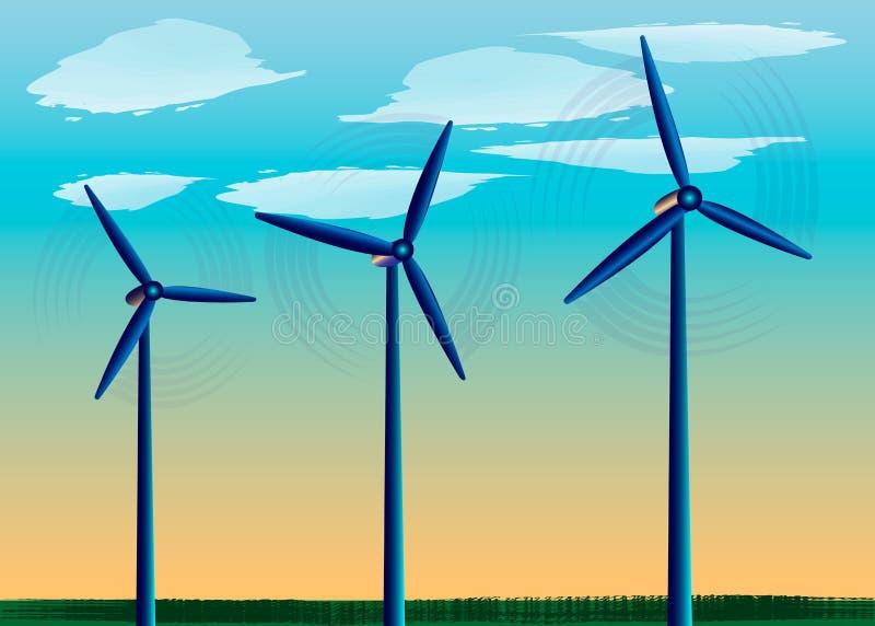 Windmühlen, die auf dem Gebiet vor dem hintergrund des blauen Himmels, Energiewind, alternative Energiequelle stehen lizenzfreie abbildung