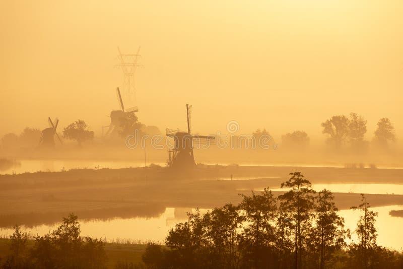 Windmühlen an einem nebeligen Morgen in Leiderdorp lizenzfreies stockfoto
