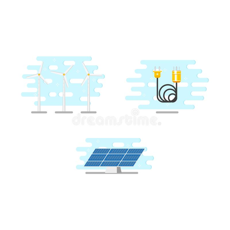 Windmühlen, Sonnenkollektor und elektrisches Stromkabel stock abbildung