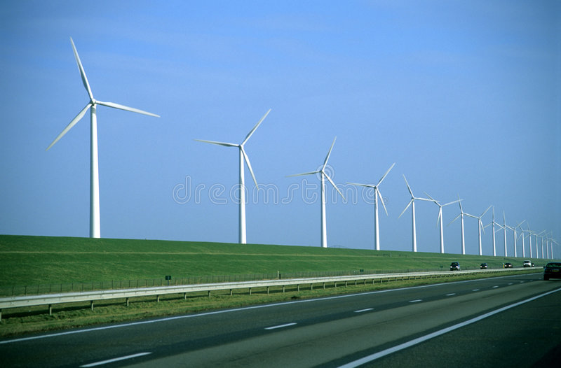 Windmühlen-Straße - sichtbares Filmkorn stockfoto