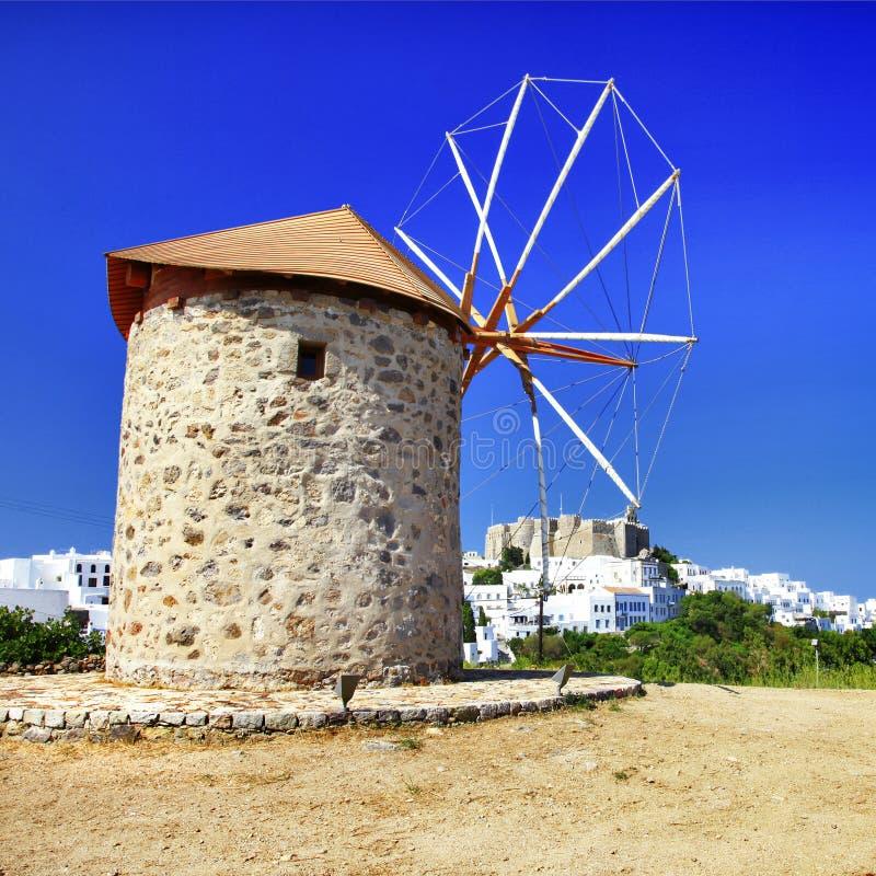 Windmühlen von Griechenland lizenzfreie stockfotografie