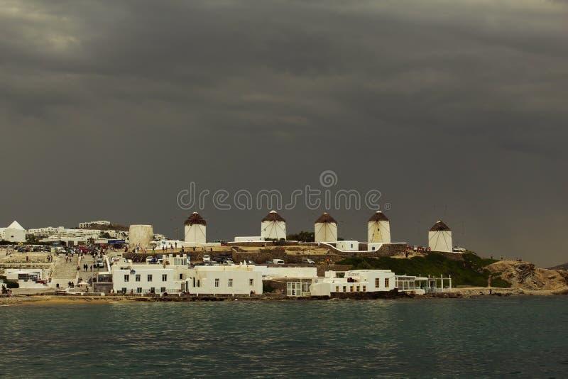 Windmühlen von Mykonos lizenzfreies stockbild