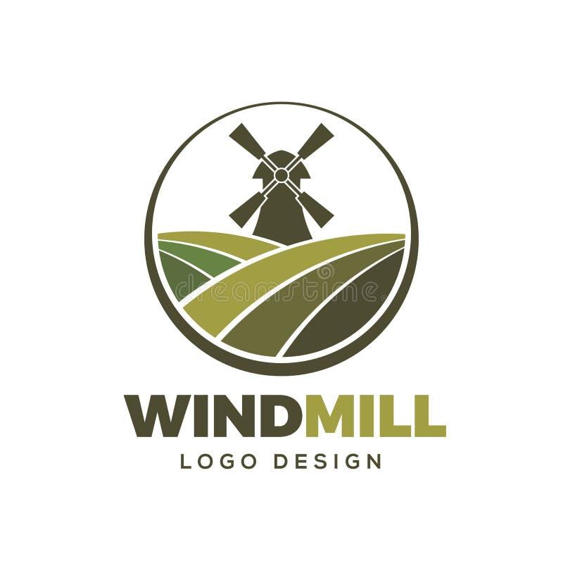 Windmühlenbauernhoflogo-Gestaltungselementschablone lizenzfreie abbildung