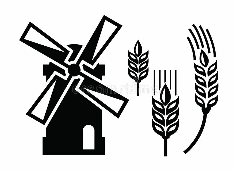 Windmühlenikonen stock abbildung