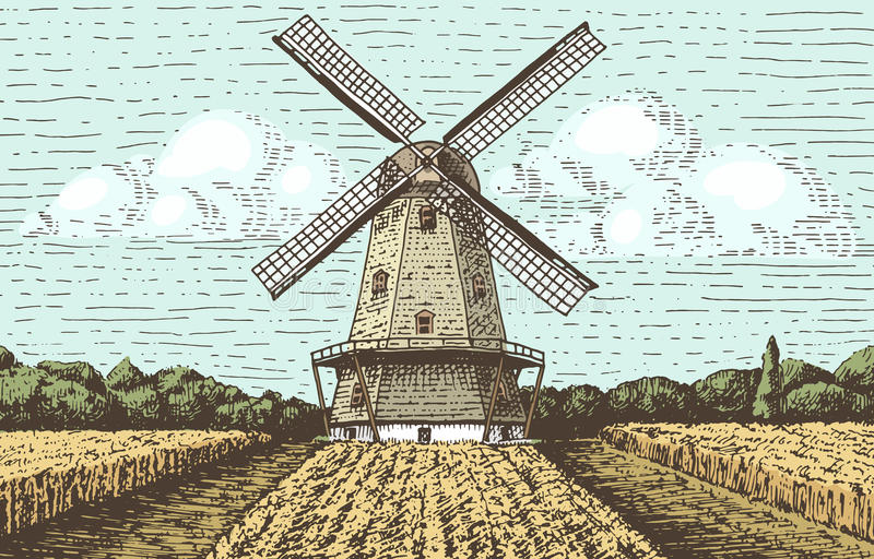 Windmühlenlandschaft in der Weinlese, Retro- Handgezeichnete oder gravierte Art, kann Gebrauch für Bäckereilogo, Weizenfeld sein  vektor abbildung