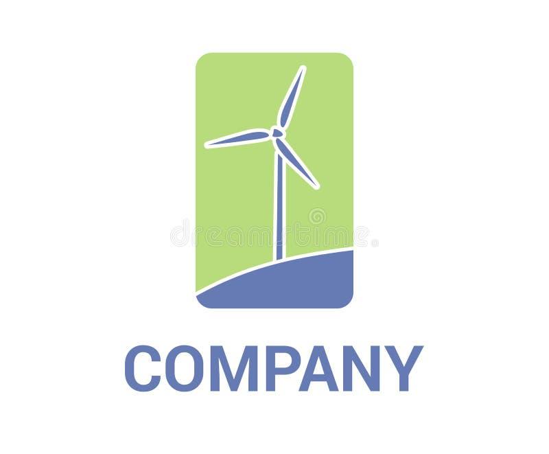 Windmühlenlogodesign stock abbildung