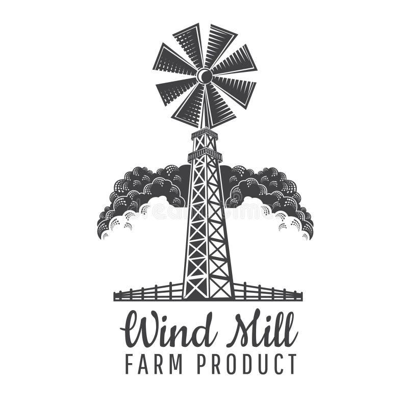 Windmühlvorderansicht mit Zaun auf dem Wolkenhintergrund lokalisiert auf Weiß Logo für landwirtschaftliches Produkt stock abbildung