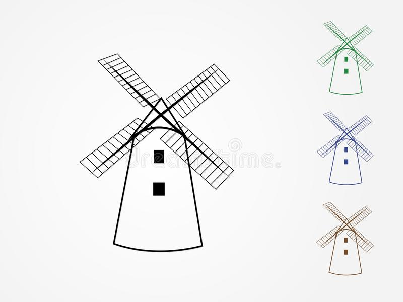 A set of colorful cool traditional windmill houses vector icons or logos in white background to mill grain vector illustration