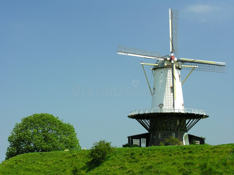 Download Windmill stock photo. Image of shrub, blue, mountain, wing - 144442