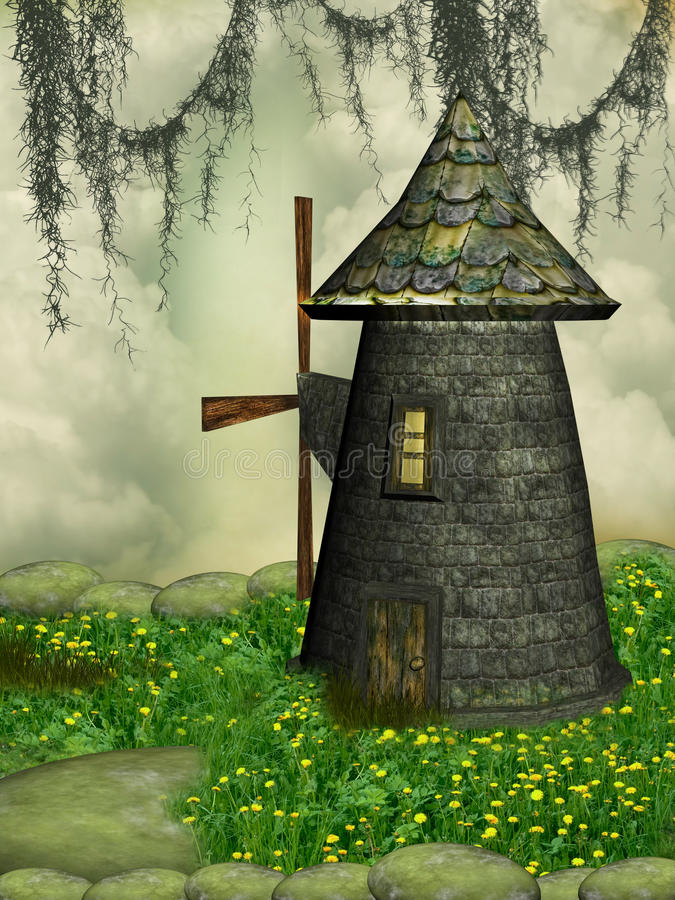 Download Windmill stock illustration. Image of misty, fantasy - 25119920